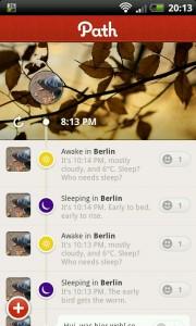 Screenshot von Path auf Android