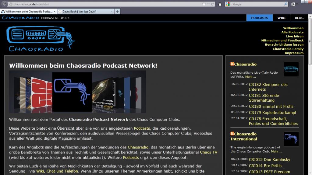 Das Chaosradio auf Fritz vom CCC